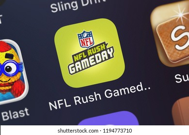 London, United Kingdom - October 01, 2018: Icon of the mobile app NFL Rush Gameday from NFL Enterprises LLC on an iPhone.