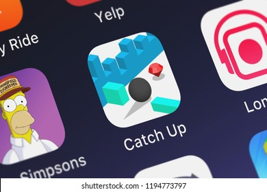 London, United Kingdom - October 01, 2018: Close-up shot of the Catch Up mobile app from Ketchapp.