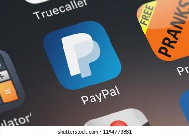 London, United Kingdom - October 01, 2018: Screenshot of PayPal, Inc.'s mobile app PayPal: Mobile Cash.