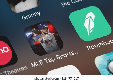 London, United Kingdom - October 01, 2018: The MLB Tap Sports Baseball 2018 mobile app from Glu Games Inc on an iPhone screen.