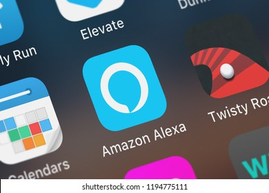London, United Kingdom - October 01, 2018: Close-up shot of AMZN Mobile LLC's popular app Amazon Alexa.