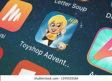 London, United Kingdom - October 01, 2018: Screenshot of the Toyshop Adventures for iPad mobile app from Glu Games Inc icon on an iPhone.