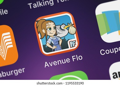 London, United Kingdom - October 01, 2018: The Avenue Flo: Special Delivery mobile app from Glu Games Inc on an iPhone screen.