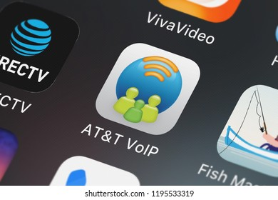 London, United Kingdom - October 01, 2018: Close-up of the ATT VoIP icon from ATT Services, Inc. on an iPhone.