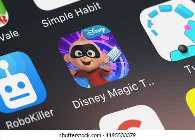 London, United Kingdom - October 01, 2018: Icon of the mobile app Disney Magic Timer by Oral-B from Disney on an iPhone.