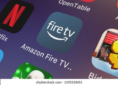 London, United Kingdom - October 01, 2018: Close-up of the Amazon Fire TV Remote icon from AMZN Mobile LLC on an iPhone.