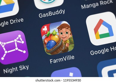 London, United Kingdom - October 01, 2018: Close-up of the FarmVille: Harvest Swap icon from Zynga Inc. on an iPhone.