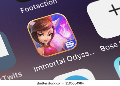 London, United Kingdom - October 01, 2018: Icon of the mobile app Immortal Odyssey from Gameloft on an iPhone.