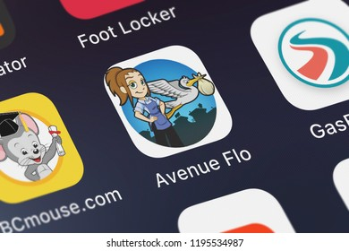 London, United Kingdom - October 01, 2018: Close-up shot of the Avenue Flo: Special Delivery application icon from Glu Games Inc on an iPhone.