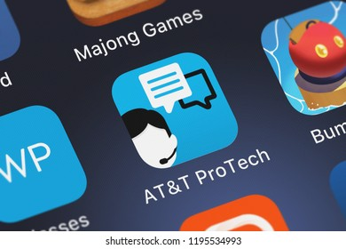 London, United Kingdom - October 01, 2018: Screenshot of the ATT ProTech mobile app from ATT Services, Inc. icon on an iPhone.