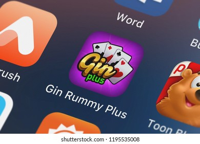London, United Kingdom - October 01, 2018: Screenshot of the Gin Rummy Plus - Card Game mobile app from Zynga Inc. icon on an iPhone.