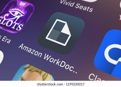 London, United Kingdom - October 01, 2018: Close-up shot of the Amazon WorkDocs application icon from AMZN Mobile LLC on an iPhone.