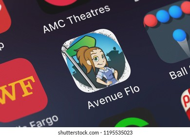London, United Kingdom - October 01, 2018: Close-up shot of the Avenue Flo application icon from Glu Games Inc on an iPhone.