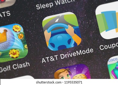 London, United Kingdom - October 01, 2018: The ATT DriveMode – Don't Text  Drive, It Can Wait mobile app from ATT Services, Inc. on an iPhone screen.