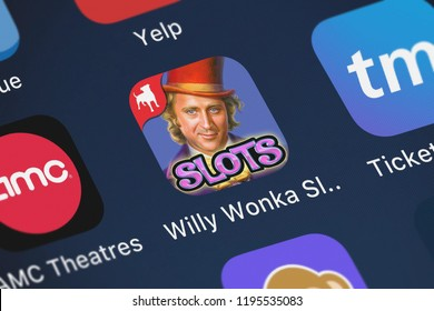 London, United Kingdom - October 01, 2018: Close-up shot of the Willy Wonka Slots Vegas Casino application icon from Zynga Inc. on an iPhone.