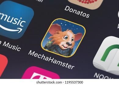 London, United Kingdom - October 01, 2018: Close-up shot of Google, Inc.'s popular app MechaHamster.