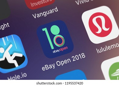 London, United Kingdom - October 01, 2018: Screenshot of the eBay Open 2018 mobile app from eBay Inc. icon on an iPhone.