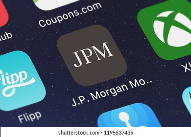 London, United Kingdom - October 01, 2018: Screenshot of the mobile app J.P. Morgan Mobile® from JPMorgan Chase  Co..