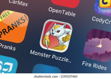 London, United Kingdom - October 01, 2018: Screenshot of the mobile app Monster Puzzle Adventure – the RPG minesweeper game from Fun Games For Free.