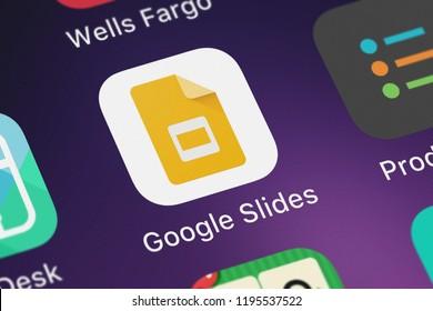 London, United Kingdom - October 01, 2018: Close-up shot of Google, Inc.'s popular app Google Slides.