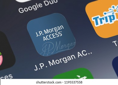 London, United Kingdom - October 01, 2018: The J.P. Morgan ACCESS Mobile mobile app from JPMorgan Chase  Co. on an iPhone screen.