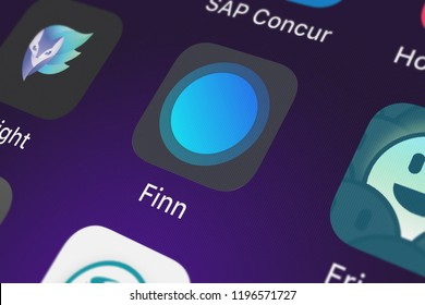 London, United Kingdom - October 01, 2018: Close-up shot of the Finn by Chase℠ application icon from JPMorgan Chase  Co. on an iPhone.