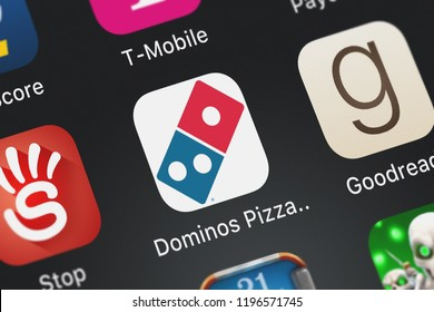 London, United Kingdom - October 01, 2018: Screenshot of the Domino's Pizza USA mobile app from Domino's Pizza LLC icon on an iPhone.