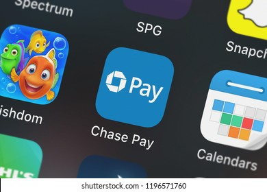 London, United Kingdom - October 01, 2018: Close-up shot of the Chase Pay®  Earn, Save, Order application icon from JPMorgan Chase  Co. on an iPhone.