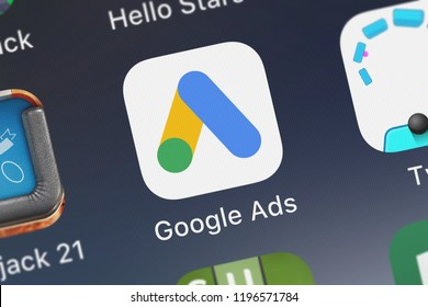 London, United Kingdom - October 01, 2018: Close-up shot of Google, Inc.'s popular app Google Ads.