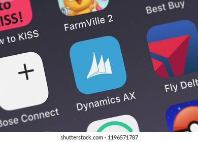 London, United Kingdom - October 01, 2018: Close-up shot of Microsoft Corporation's popular app Dynamics AX.
