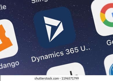 London, United Kingdom - October 01, 2018: Close-up shot of the Dynamics 365 Unified Ops mobile app from Microsoft Corporation.