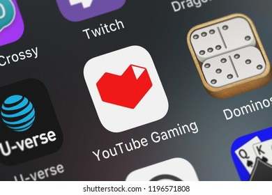 London, United Kingdom - October 01, 2018: Close-up shot of the YouTube Gaming mobile app from Google, Inc..