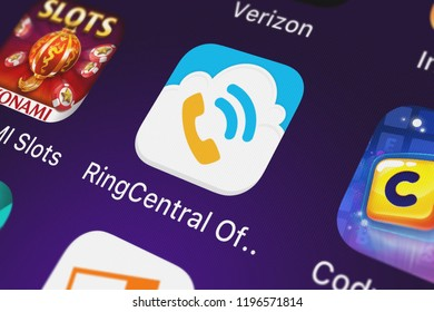 London, United Kingdom - October 01, 2018: Screenshot of the RingCentral OfficeHand - ATT mobile app from ATT Services, Inc. icon on an iPhone.