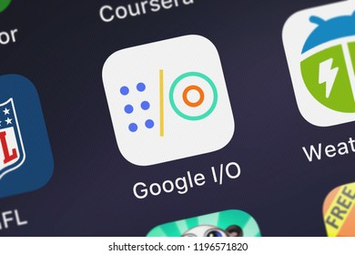 London, United Kingdom - October 01, 2018: Close-up shot of the Google IO application icon from Google, Inc. on an iPhone.