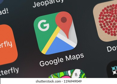 London, United Kingdom - October 01, 2018: Icon of the mobile app Google Maps - Transit  Food from Google, Inc. on an iPhone.