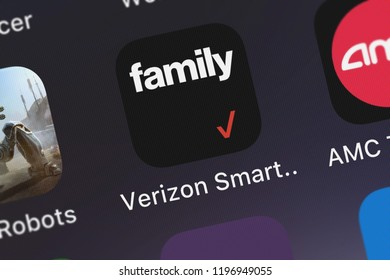 London, United Kingdom - October 01, 2018: Icon of the mobile app Verizon Smart Family™ from Verizon Wireless on an iPhone.