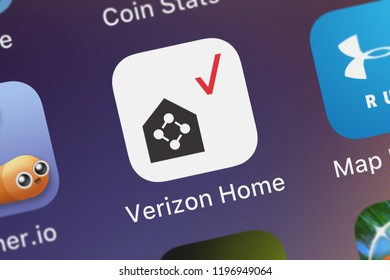 London, United Kingdom - October 01, 2018: Close-up shot of the Verizon Home mobile app from Verizon Wireless.