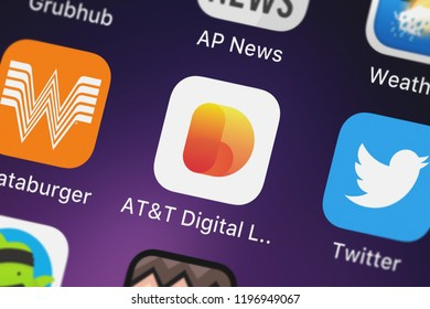 London, United Kingdom - October 01, 2018: The ATT Digital Life mobile app from ATT Services, Inc. on an iPhone screen.