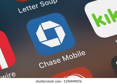 London, United Kingdom - October 01, 2018: The Chase Mobile® mobile app from JPMorgan Chase  Co. on an iPhone screen.