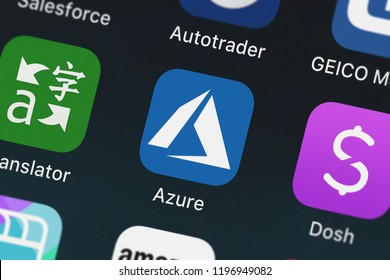 London, United Kingdom - October 01, 2018: Icon of the mobile app Microsoft Azure from Microsoft Corporation on an iPhone.