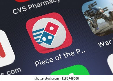London, United Kingdom - October 01, 2018: The Piece of the Pie Pursuit mobile app from Domino's Pizza LLC on an iPhone screen.