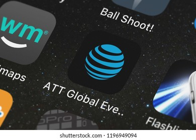 London, United Kingdom - October 01, 2018: The ATT Global Events mobile app from ATT Services, Inc. on an iPhone screen.