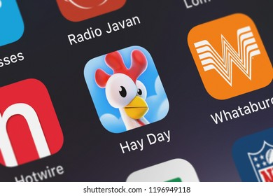 London, United Kingdom - October 01, 2018: Screenshot of the Hay Day mobile app from Supercell icon on an iPhone.