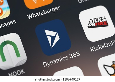 London, United Kingdom - October 01, 2018: Close-up shot of the Microsoft Dynamics 365 mobile app from Microsoft Corporation.