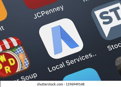 London, United Kingdom - October 01, 2018: The Local Services ads by Google mobile app from Google, Inc. on an iPhone screen.