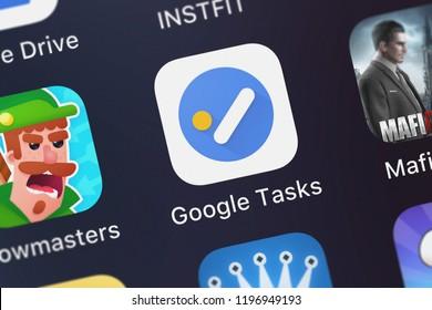 London, United Kingdom - October 01, 2018: Close-up shot of Google, Inc.'s popular app Google Tasks: Get Things Done.
