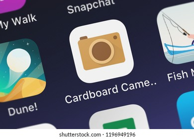 London, United Kingdom - October 01, 2018: The Cardboard Camera mobile app from Google, Inc. on an iPhone screen.