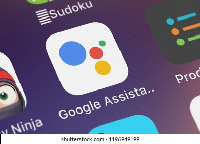 London, United Kingdom - October 01, 2018: Screenshot of the mobile app Google Assistant from Google, Inc..