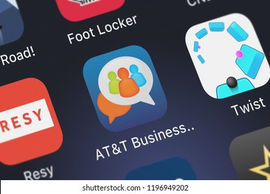 London, United Kingdom - October 01, 2018: Screenshot of the ATT Business Messenger mobile app from ATT Services, Inc. icon on an iPhone.