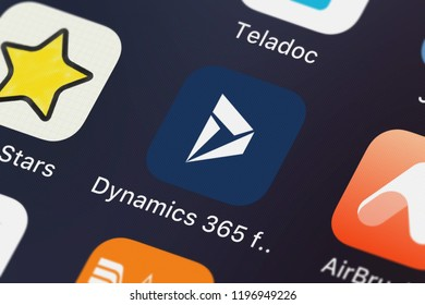 London, United Kingdom - October 01, 2018: Screenshot of the Dynamics 365 for phones mobile app from Microsoft Corporation icon on an iPhone.